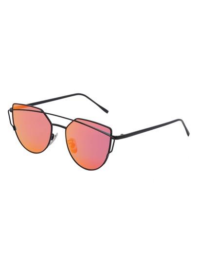 Double Bridge Red Lens Sunglasses