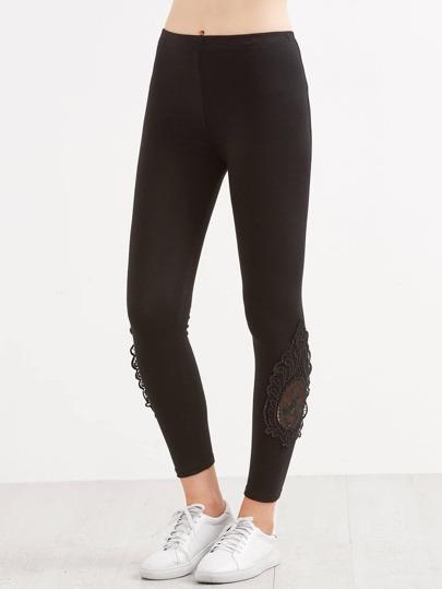 Black Lace Contrast Leggings