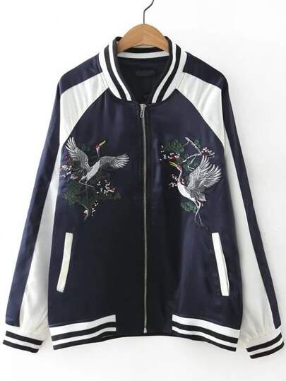 Navy Crane Embroidery Striped Trim Raglan Sleeve Jacket