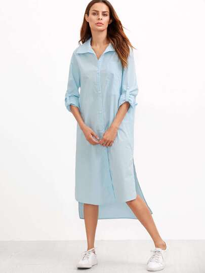 Blue Roll Sleeve Side Slit High Low Shirt Dress
