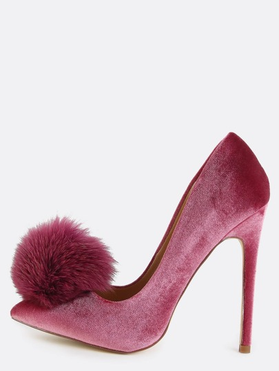 Stiletto Pom Pom Pumps MAUVE
