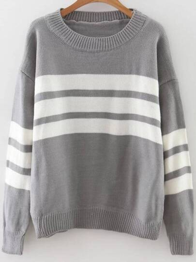 Grey Striped Ribbed Trim Drop Shoulder Sweater