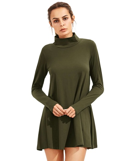 Army Green Pullover Long Sleeve Casual Dress