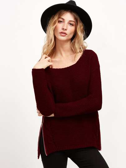 Burgundy Cable Knit Sweater With Zip Detail