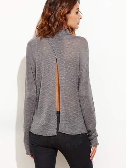 Grey Turtleneck Drop Shoulder Split Back Sheer Sweater