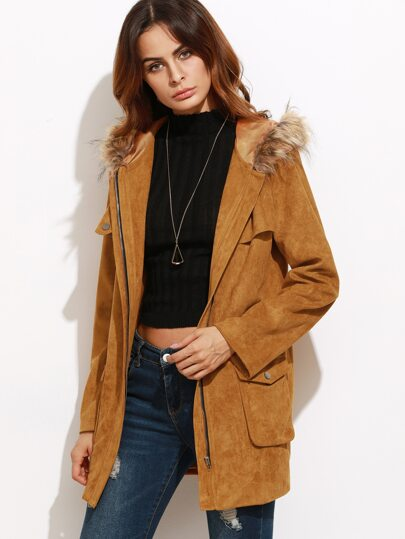 Camel Suede Utility Coat With Faux Fur Trim Hood
