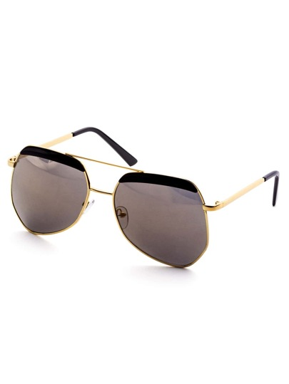 Gold Frame Black Trim Double Bridge Sunglasses