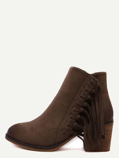 Brown Faux Suede Tassel Trim Cork Heel Ankle Boots