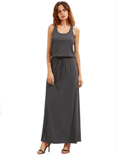 Dark Grey Self-tie Waist Sleeveless Maxi Dress