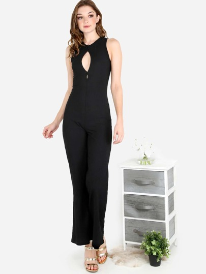 Ribbed Henley Jumpsuit BLACK