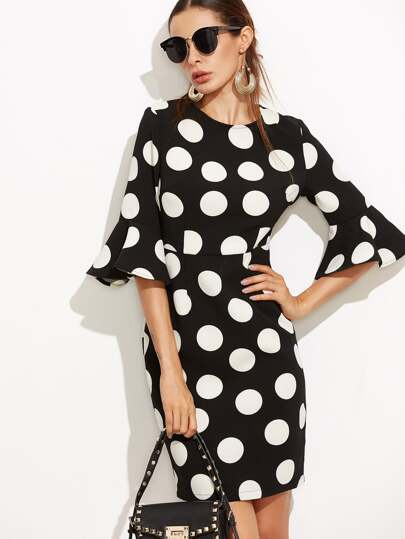 Black Polka Dot Print Ruffle Sleeve Sheath Dress