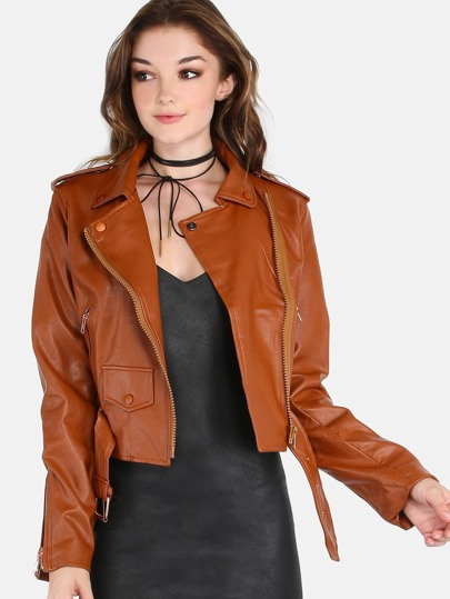 Cropped Moto Faux Leather Jacket CAMEL