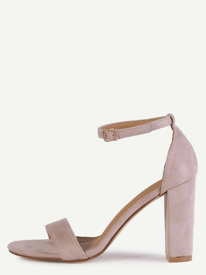 Sandalias de tacón con tira en tobillo - rosa