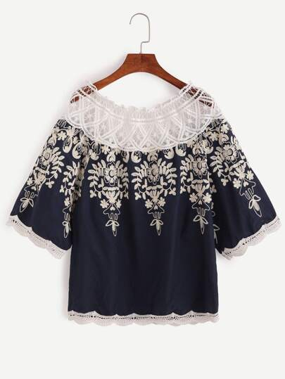 Contrast Crochet Trim Embroidered Blouse