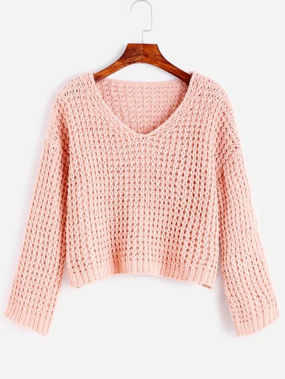Pink V Neck Chunky Knit Sweater