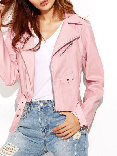 Pink Faux Leather Asymmetric Zip Biker Jacket