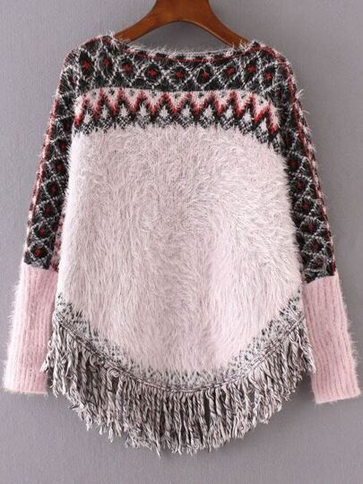 Pink Geometric Pattern Fringe Hem Mohair Cape Sweater