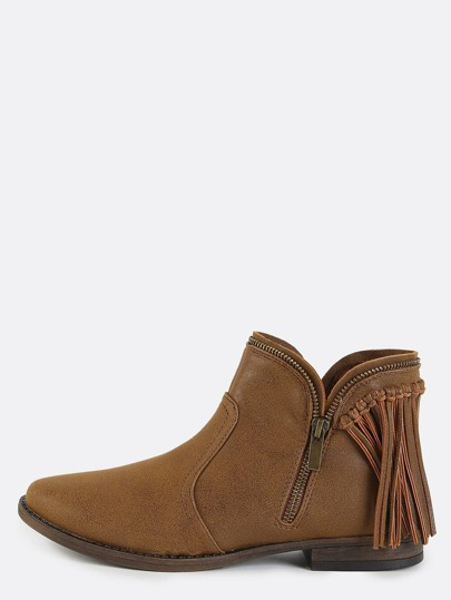 Fringe Low Cut Ankle Boots CHESTNUT