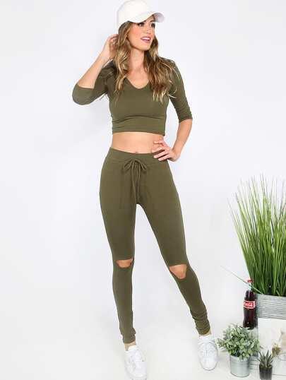 Модный комплект цвета хаки. топ с капюшоном и рваные брюки