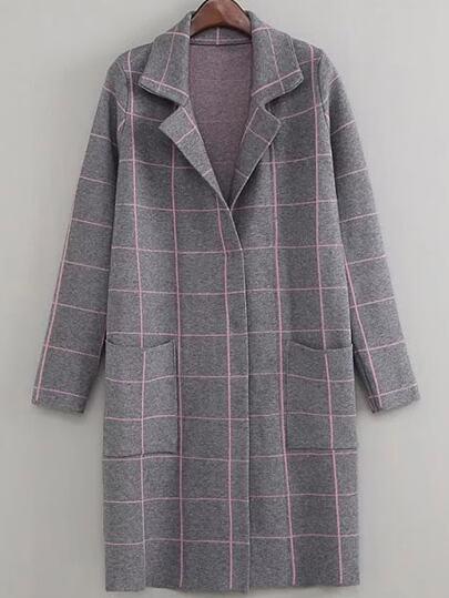 Grey Grid Lapel Long Coat With Pockets