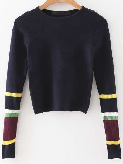 Navy Color Block Sleeve Crop Sweater