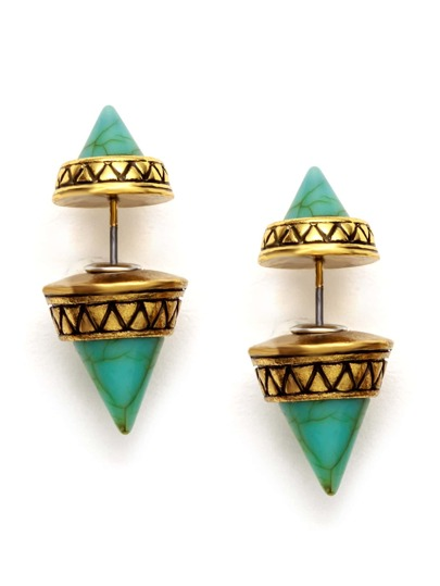 Antique Gold Geometric Turquoise Stud Earrings