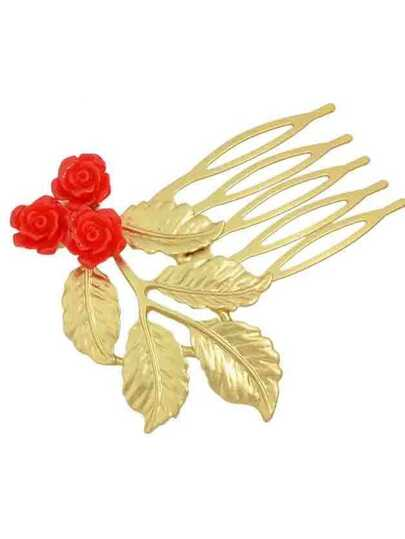 Red Leaf Shape Hair Combs