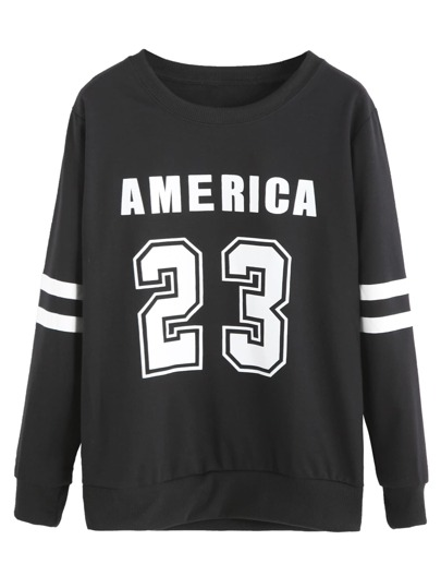 Black Numbers Print Varsity Striped Sweatshirt