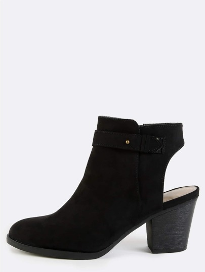 Stacked Heel Suede Ankle Boots BLACK