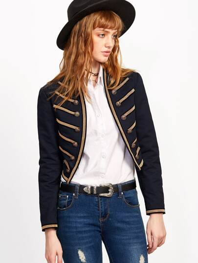 Navy Embroidered Tape Military Jacket