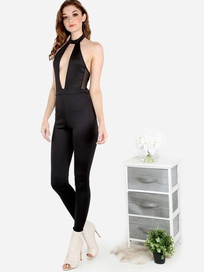 Plunging Choker Neck Meshed Side Jumpsuit BLACK