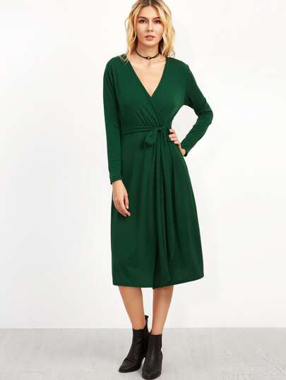Dark Green Deep V Neck Wrap Dress