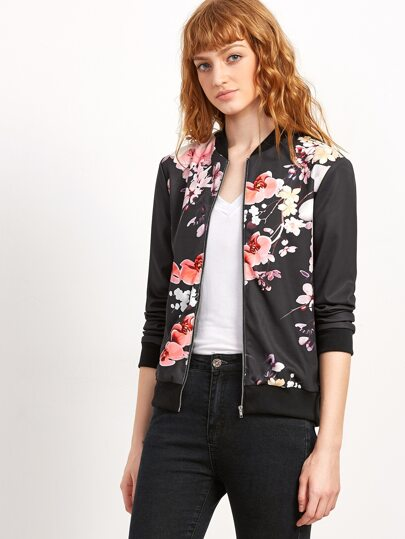 Black Flower Print Ribbed Trim Bomber Jacket