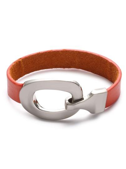Orange Faux Leather Metal Hook Bracelet