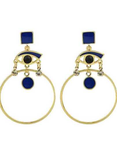 Blue Ethnic Style Rhinestone Eye Round Shape Hanging Statement Earrings