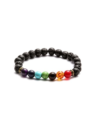 Multicolor Beaded Faux Stone Elastic Bracelet