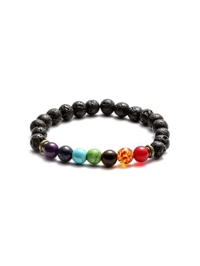 Bracelet élastique avec perle - multicolore