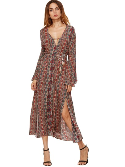 Tribal Print Schlitz Langes Kleid