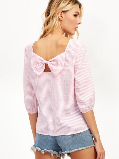 Pink Vertical Striped Bow Embellished Back Top