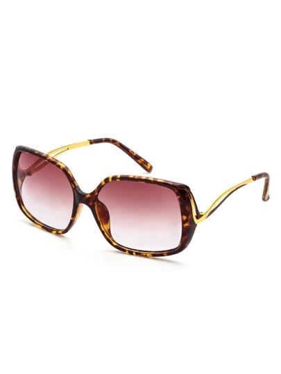 Leopard Print Frame Large Lens Sunglasses