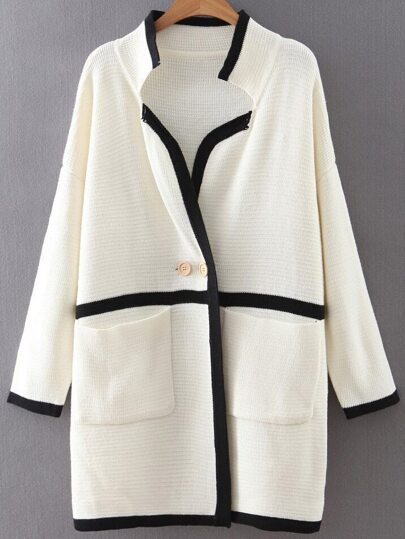 White Contrast Striped Sweater Coat With Buttons