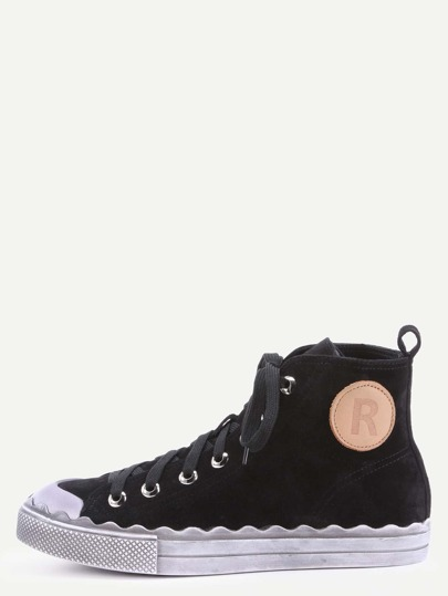 Black Genuine Leather Distressed High Top Flat Sneakers