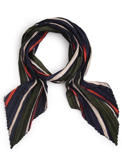 Multicolor Folding Stripe Satin Scarf