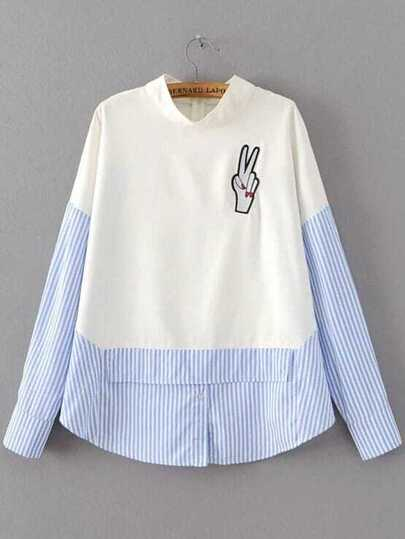 Striped Finger Patch 2 in 1 Blouse