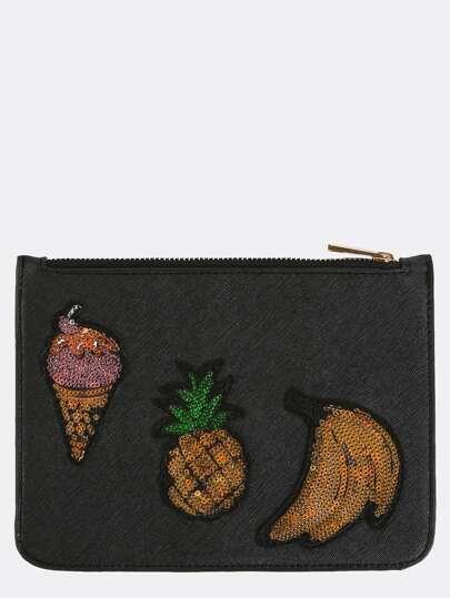 Tropical Sequin Patch Clutch Purse BLACK