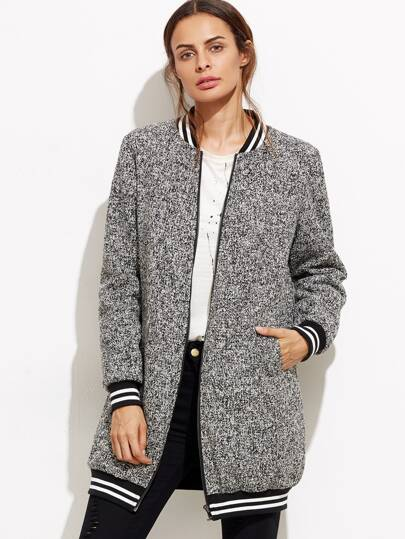 Black Marled Striped Trim Longline Bomber Jacket