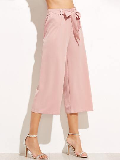 Pink Wide Leg Pants With Belt