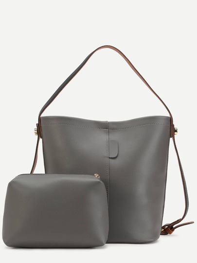 Grey Faux Leather Convertible Shoulder Bag Set