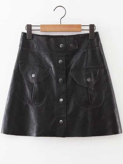 Falda de PU con botones y bolsillo - negro
