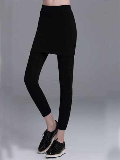 Black Elastic Waist 2 In 1 Leggings